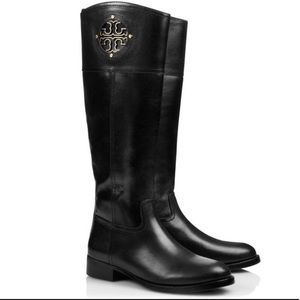 Tory Burch Kiernan Black Leather Riding Boot